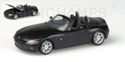 1 43 MINICHAMPS BMW Z4 ROADSTER (E85) - ´FULDA´ 2002 MATT negro OPEN RARE NEW