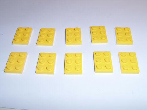 10 Stück 3021 Lego Platte 2x3 Gelb yellow gebraucht 302124