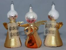 VINTAGE Blown Glass Music Angel Ornaments ITALY, set of Three (3), Gold Glitter