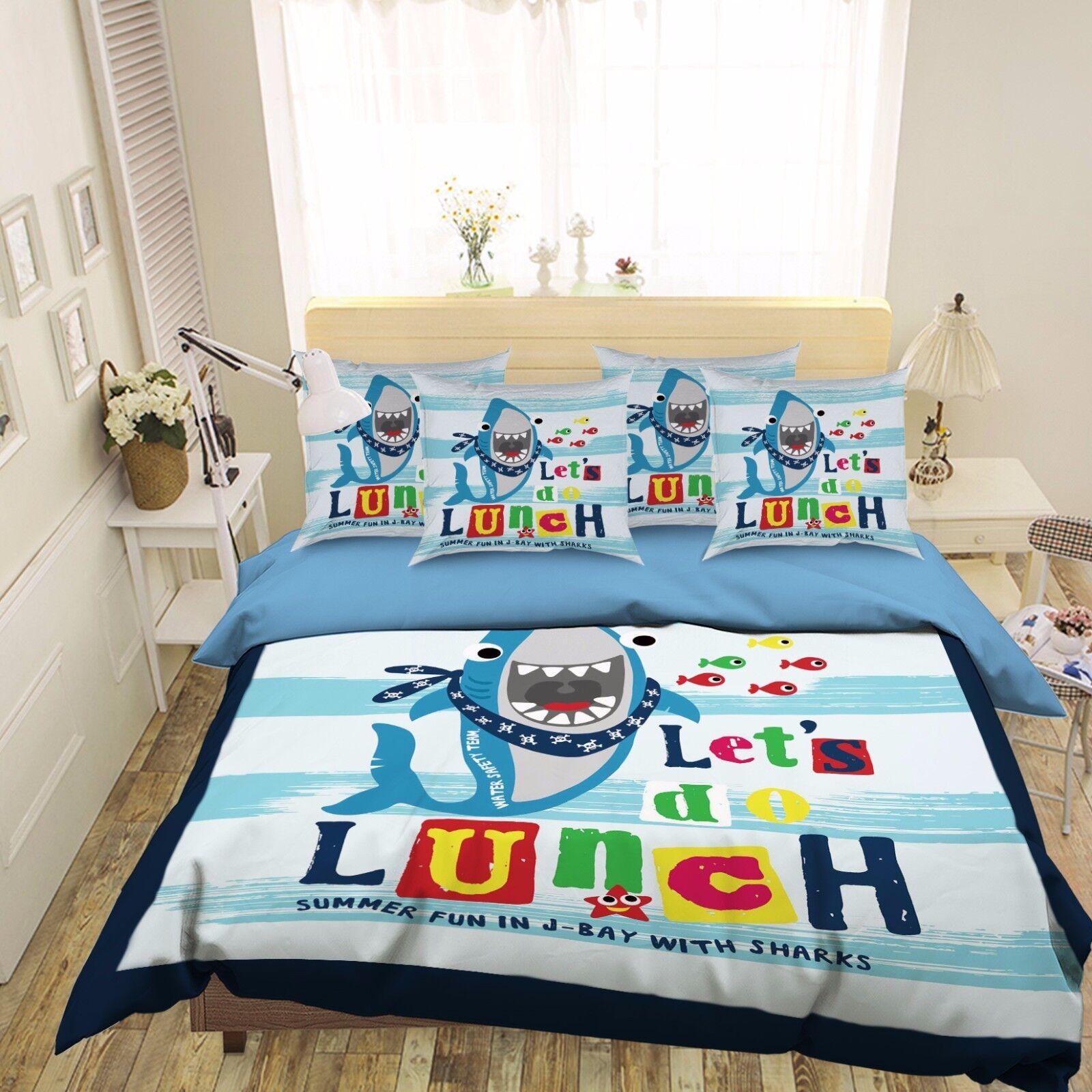 3D Cartoon Fun Shark 462 Bed Pillowcases Quilt Duvet Cover Set Single Queen CA