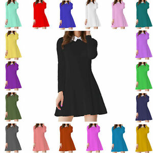 PAPAVAL-KWCLS-Kids-Girls-Long-Sleeve-White-Collar-Flared-Casual-Swing-Dress-Top