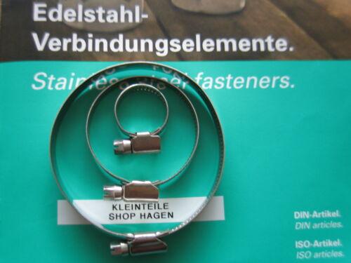 20 Edelstahl Schlauchschellen V2A Bandbreite 9mm DIN 3017 W2 40x60 mm