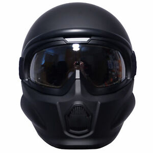 Viper-RS07-Trooper-Modular-Open-Face-Fitted-Mask-Motorcycle-Helmet-Matt-Black