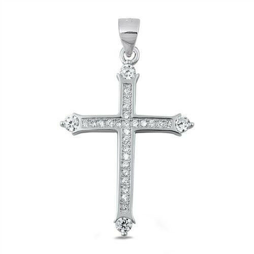 Cross Pendant Genuin Sterling Silver 925 Clear CZ Jewelry Product Size 28 mm