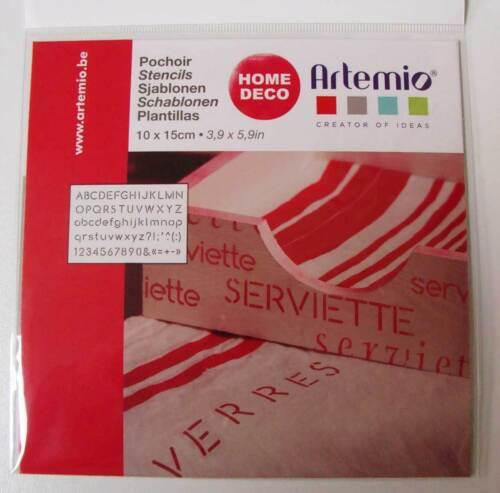 Pochoir Alphabet Lettres Chiffres tous supports planche 15cm Artemio Home Deco