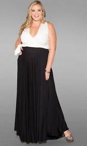 Sexy-SWAK-Designs-Plus-Eternity-Wrap-Party-Maxi-Dress-Black-White-Tuxedo-1x-3x