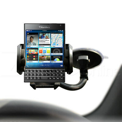 IN CAR WINDSCREEN HOLDER MOUNT WITH MICRO USB CHARGER FOR BLACKBERRY PASSPORT