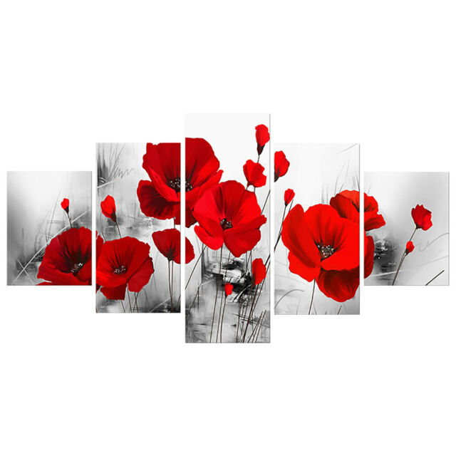 "LARGE RED FLORAL CANVAS ART BLACK ORCHIDS MULTI 40/""x28/"""