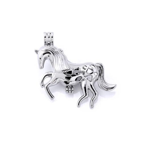 Argent Perles Cage 10x cheval en forme de pendentif Huile Parfum Diffuseur Bijoux