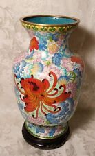 """14"""" TALL VINTAGE CHINESE CLOISONNE THOUSAND FLOWER VASE"""