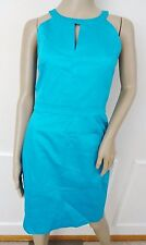Nwt Calvin Klein Work Day Halter Cotton Sheath Dress Sz 8 Manganese Blue $118