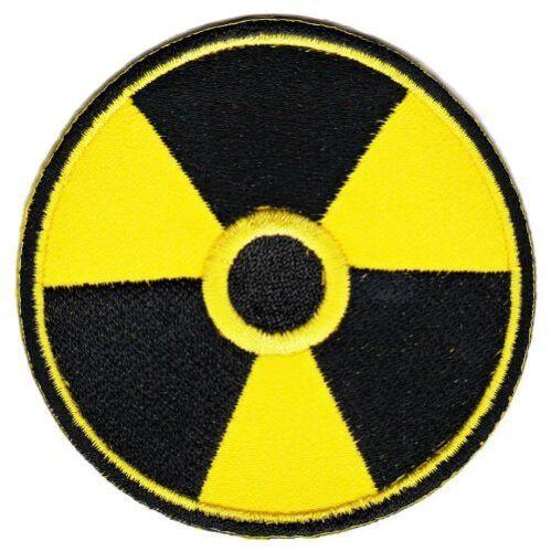 as54 Strahlenwarnzeichen Radioaktivität Aufnäher Bügelbild Applikation Flicken