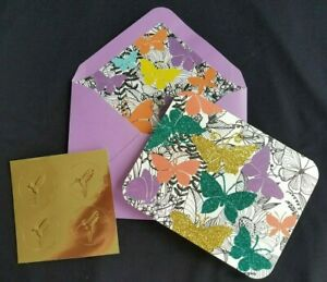 Papyrus-12-Glittery-Butterfly-Note-Cards-Envelopes-and-Gold-Foil-Seals