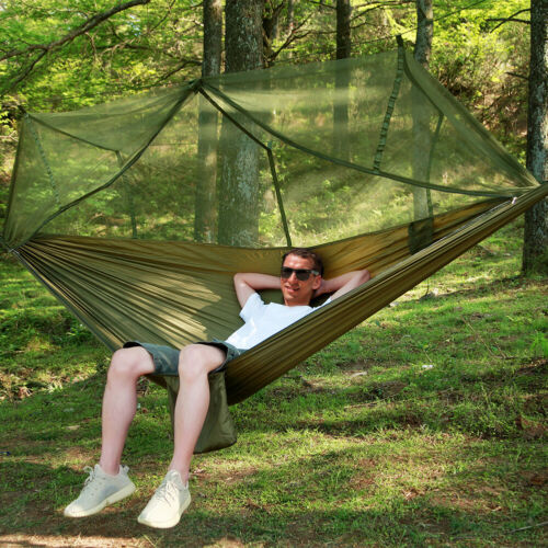 Camping Hängematte mit Moskitonetz Zelt Tarp Zeltplane Outdoor Hammock