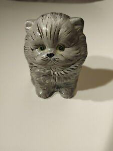 Vintage 1977 Alberta's Molds Hand Painted Gray Ceramic Kitten Cat Hollow