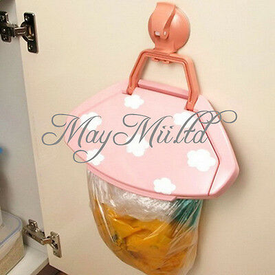 Mini Portable Plastic Door Sink Car Garbage Sucker Trash Bag Can Rack Holder