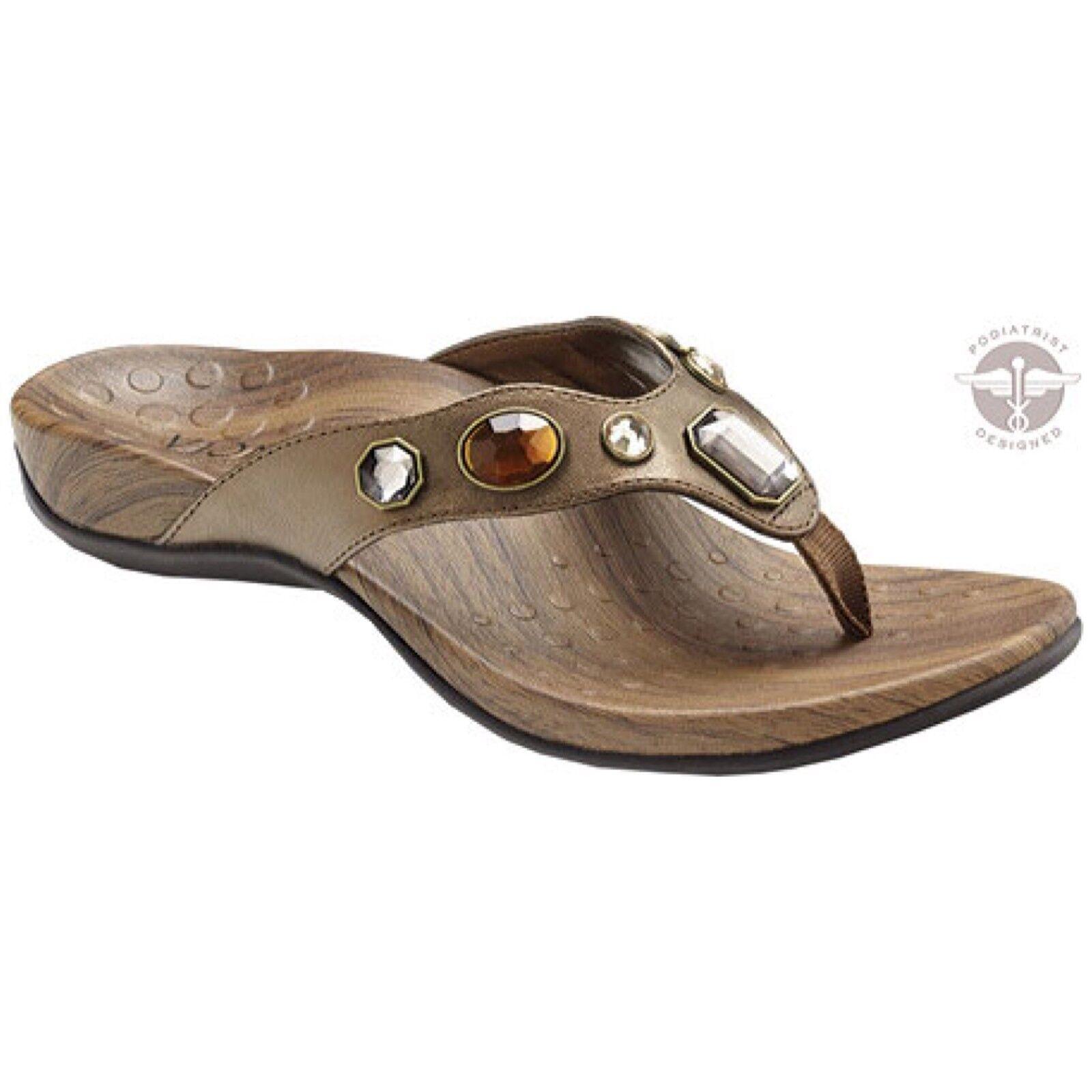NEW Vionic Eve Womens 11 42 Jewel Sandals Bronze Faux Faux Faux Leather Orthoheel Vegan 1eeca8