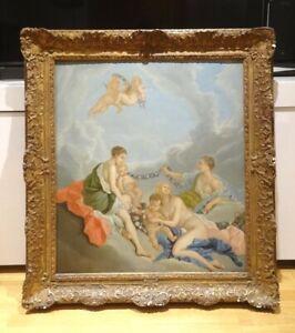 Huge-18th-Century-French-Nude-Nymphs-Diana-Gods-Goddess-Cherubs-Francois-BOUCHER