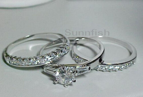 925 STERLING SILVER 3 RING SIMULATED DIAMOND ENGAGEMENT WEDDING SET Size 9