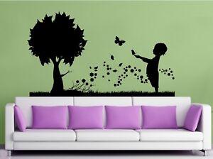 WALL STICKERS ADESIVI MURALI Bimbo fiori farfalle Famiglia ...
