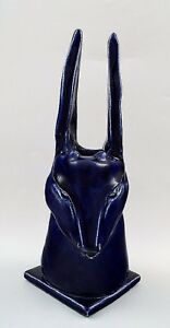 Scandinavian-pottery-antelope-ceramic-vase-sculpture-with-dark-blue-glaze