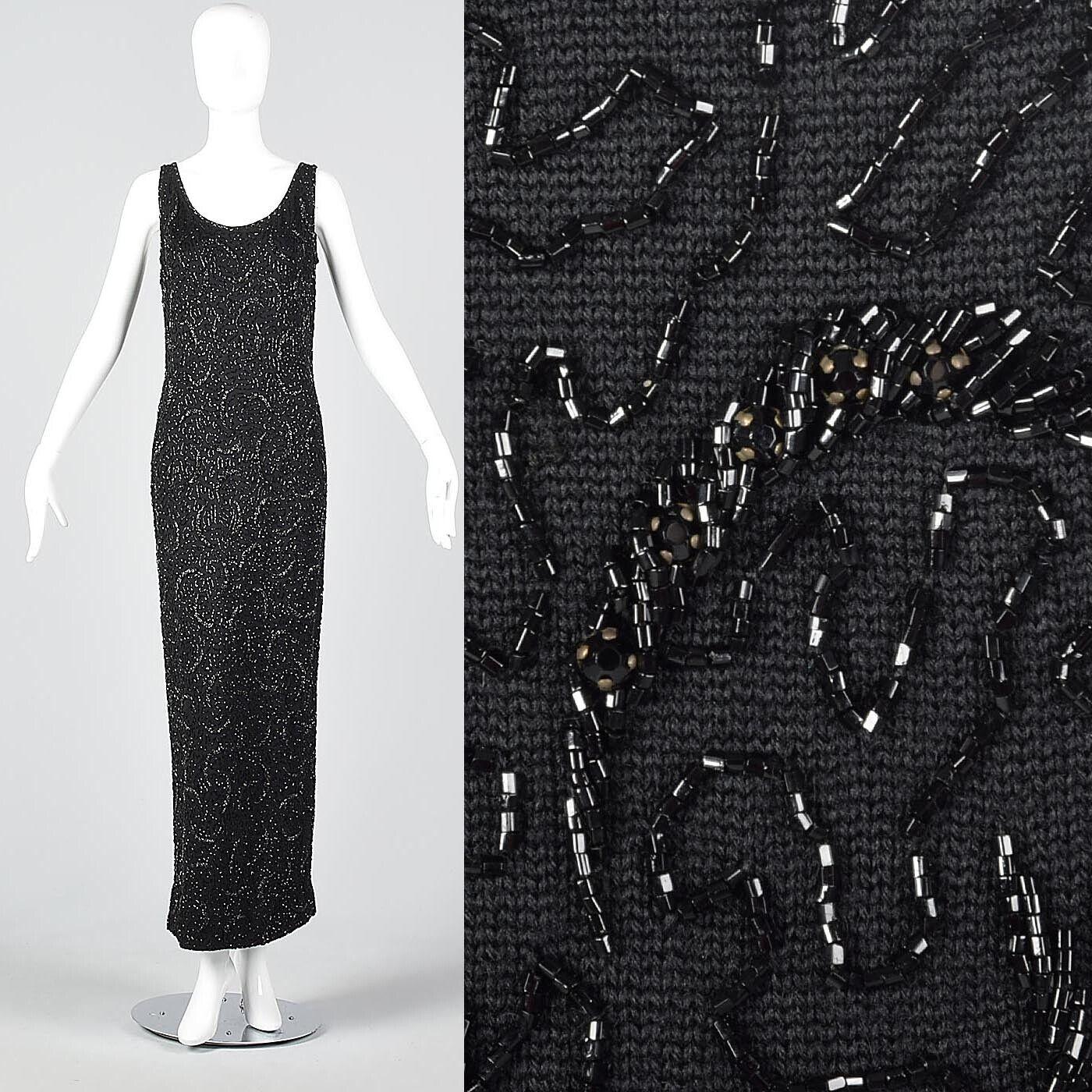 M/L 1960s Dress Black Wool Knit Beaded Maxi Dress LBD Sexy Cocktail 60s VTG