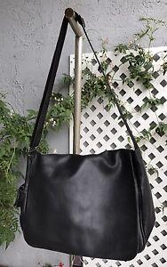 GIORGIO-ARMANI-Black-Faux-Leather-Messenger-Shoulder-Bag-Purse-Tote-Unisex