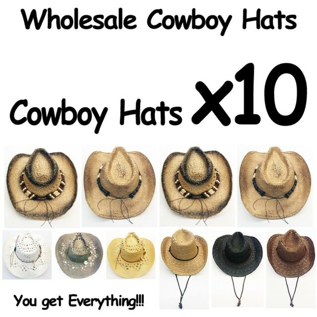 WHOLESALE Cowboy Hats 10 Assorted Variety with real straw Western Style 10  Hats 9d56db24eda6