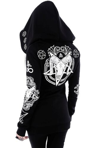 Restyle gothic giacca SKULL hoodie nugoth SIGIL Lucifer RAM cappuccio Witchy rituale