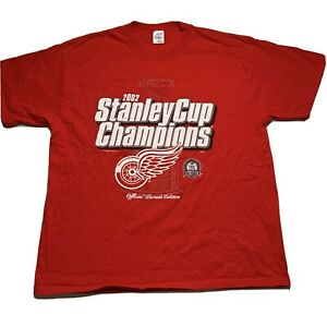 Detroit-Red-Wings-Men-s-Size-XL-2002-Stanley-Cup-Champions-T-Shirt-Double-Sided