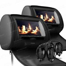 "Xtrons 2X 7"" Headrest Car DVD Player Digital Screen Games IR Headphones Black"