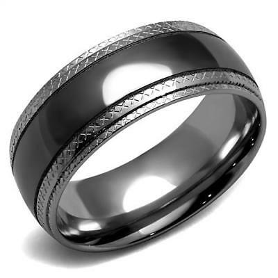 Unisex Stainless Steel Black IP No Stone Band Ring 6 7 8 9 10 11 12 13 TK2580