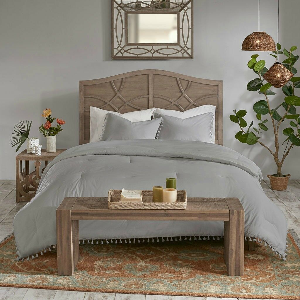 100% Soft Cotton Ivory   grau Bohemian Comforter Shams 3 pcs Cal King Queen Set