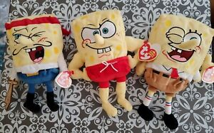 Ty Beanie Babies SpongeBob Thumbs Up Wink, Captain Pirate, Musclebob Buffpants !