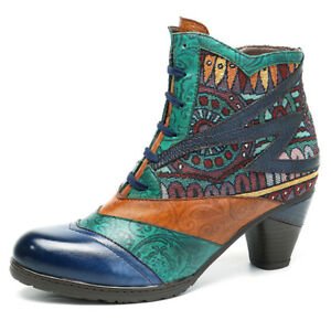 CHIC-Women-Bohemian-Splicing-Pattern-Block-Zipper-Ankle-Leather-Boots