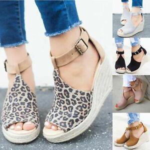 Ladies-Women-Buckle-Ankle-T-Strap-Wedge-Sandals-Peep-Toe-Comfy-Espadrilles-Shoes