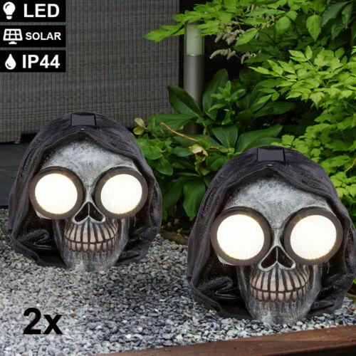 2x LED Totenkopf Garten Lampen Deko-Licht SOLAR Balkon Leuchten schwarz-silber