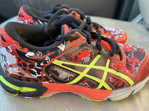 Details about ASICS Kids Boys SIZE 1 Running Sneaker Shoes Black Red neon