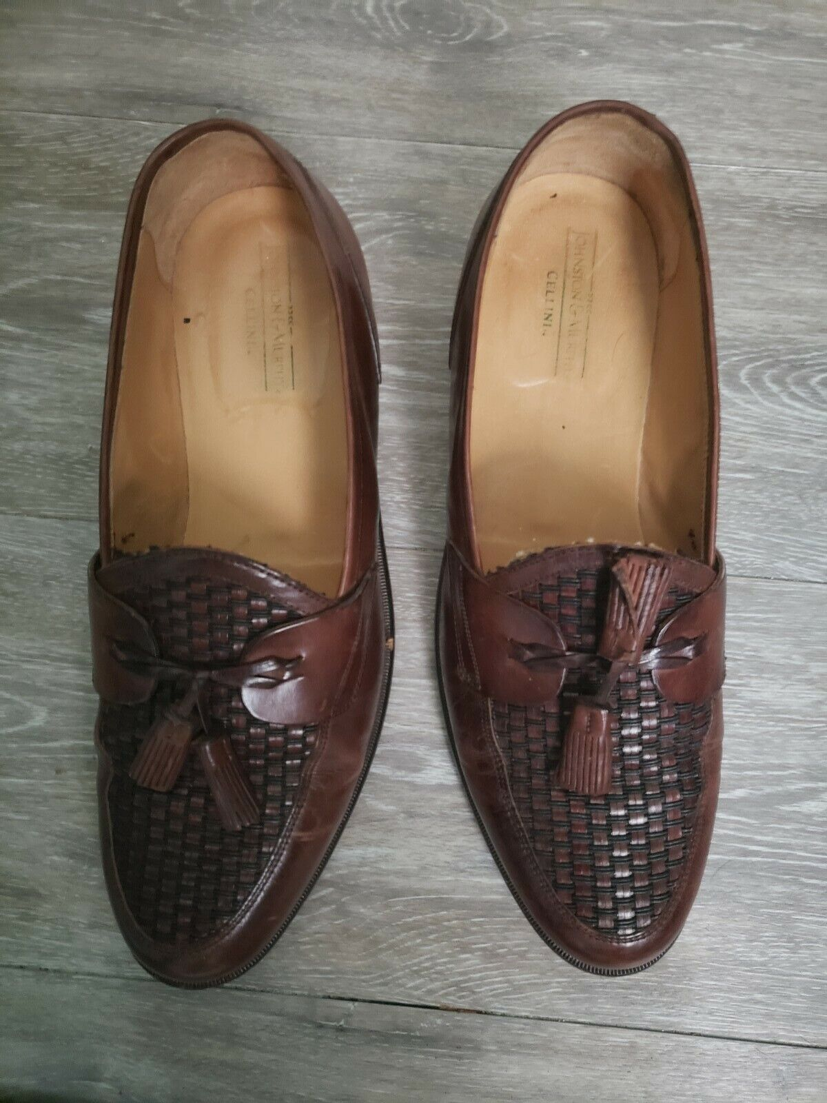 Johnston & Murphy Celini Brown Leather Weave Tassel Loafers Men's 12 M see desp