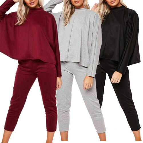 Womens Baggy Oversized Batwing Sleeve Lounge Wear T Shirt Top Bottom Co Ord Set