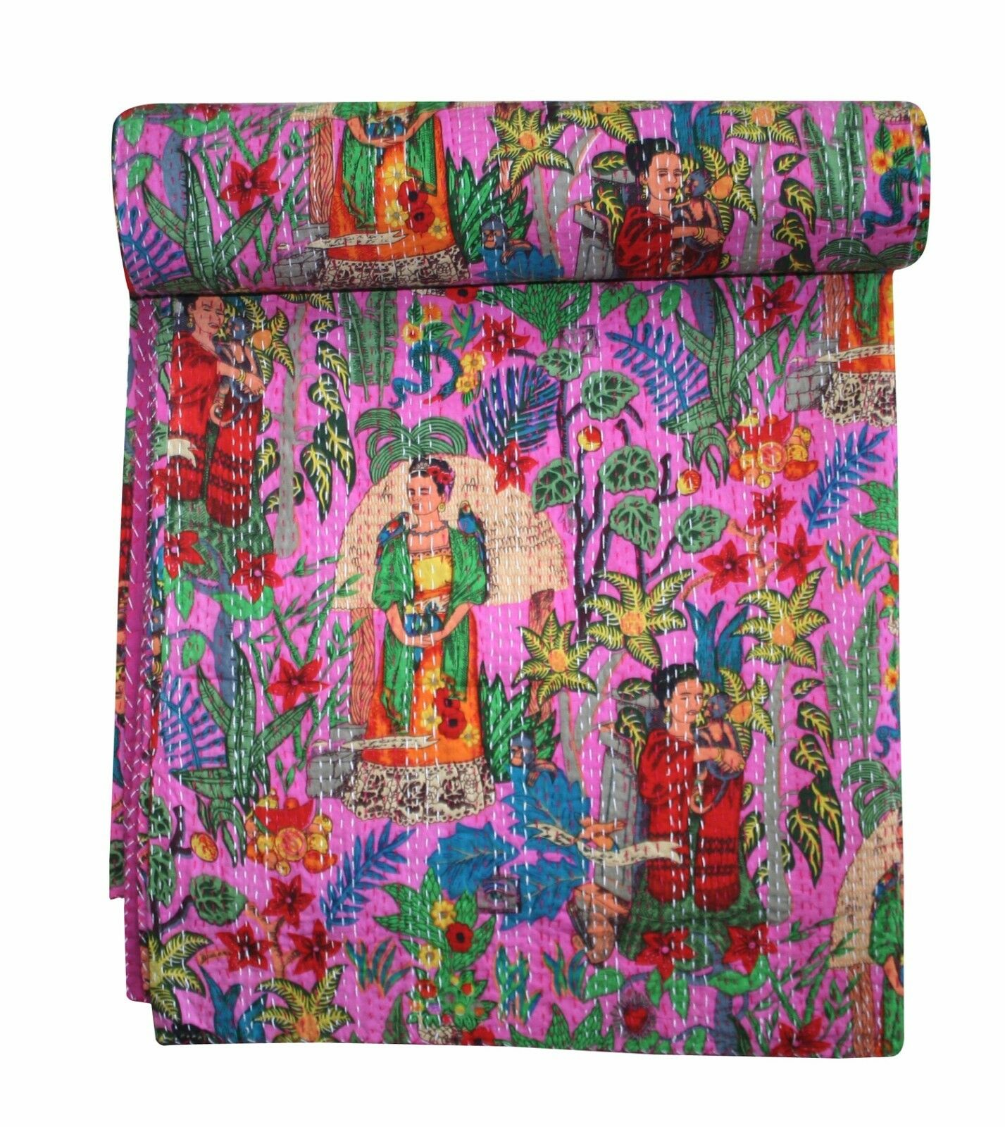 Pink Farida Kahlo Queen Print Kantha Quilt Bedspread Throw Blanket Bedding Rally