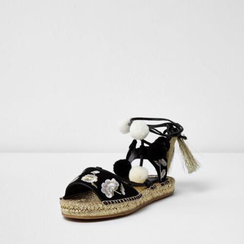 EX RIVER ISLAND ROSA POM POM EMBROIDERED ESPADRILLES SANDALS SIZES 3-8 RRP £38