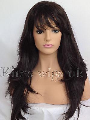 FULL WOMEN LADIES FASHION HAIR WIG DARK BROWN HEAT RESIST LONG LAYERED  #4 UK