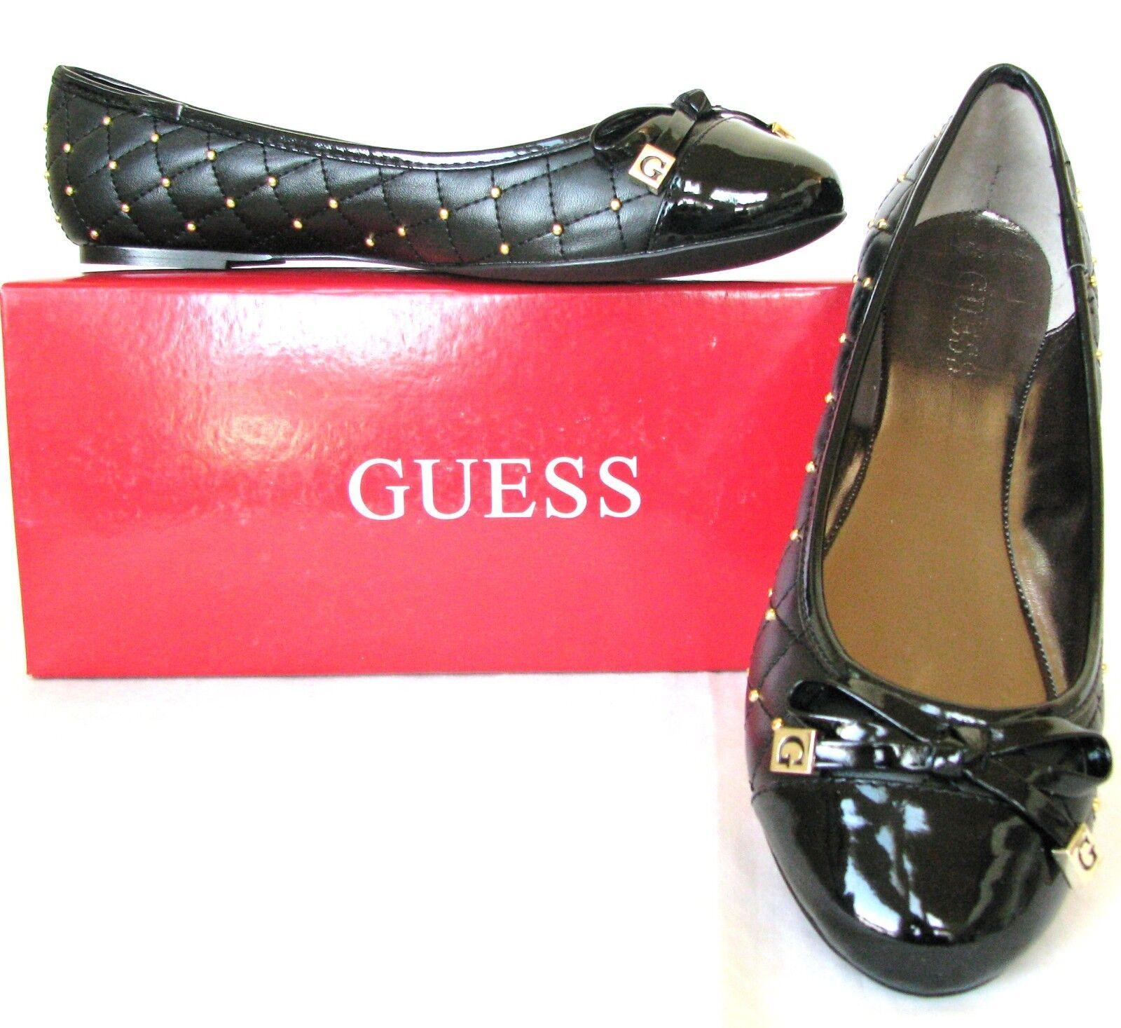 NEU-GUESS GEORGIA BLACK LEATHERETTE+PATENT BOW TOE CAP STUD BALLET FLATS,Schuhe