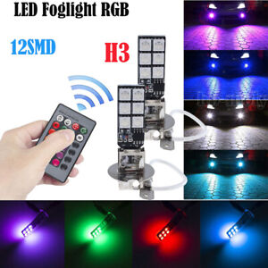 2x-LED-Remote-Control-5050-RGB-Color-Changing-Car-H3-12SMD-Head-Fog-Lights-Bulbs