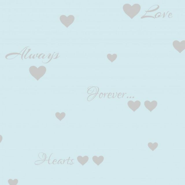 Light Blue Silver Love Hearts Wallpaper Quotes Typography Heavyweight Fine Decor