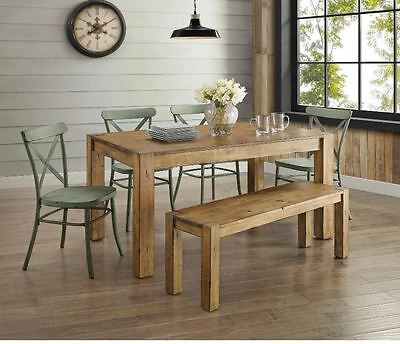 Farmhouse Dining Table Set Rustic Wood Country Kitchen Metal Green Chair 6 Piece 688961953155 Ebay