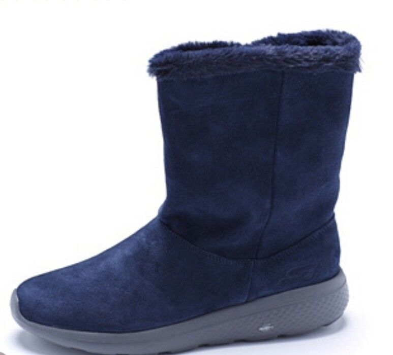 Skechers On the GO City 2 Suede Mid Calf Boot with Faux Fur Lining Navy UK 4