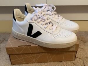 best loved outlet online great fit Details about Veja V10 Leather Extra White Black Ladies Size 8 Trainers