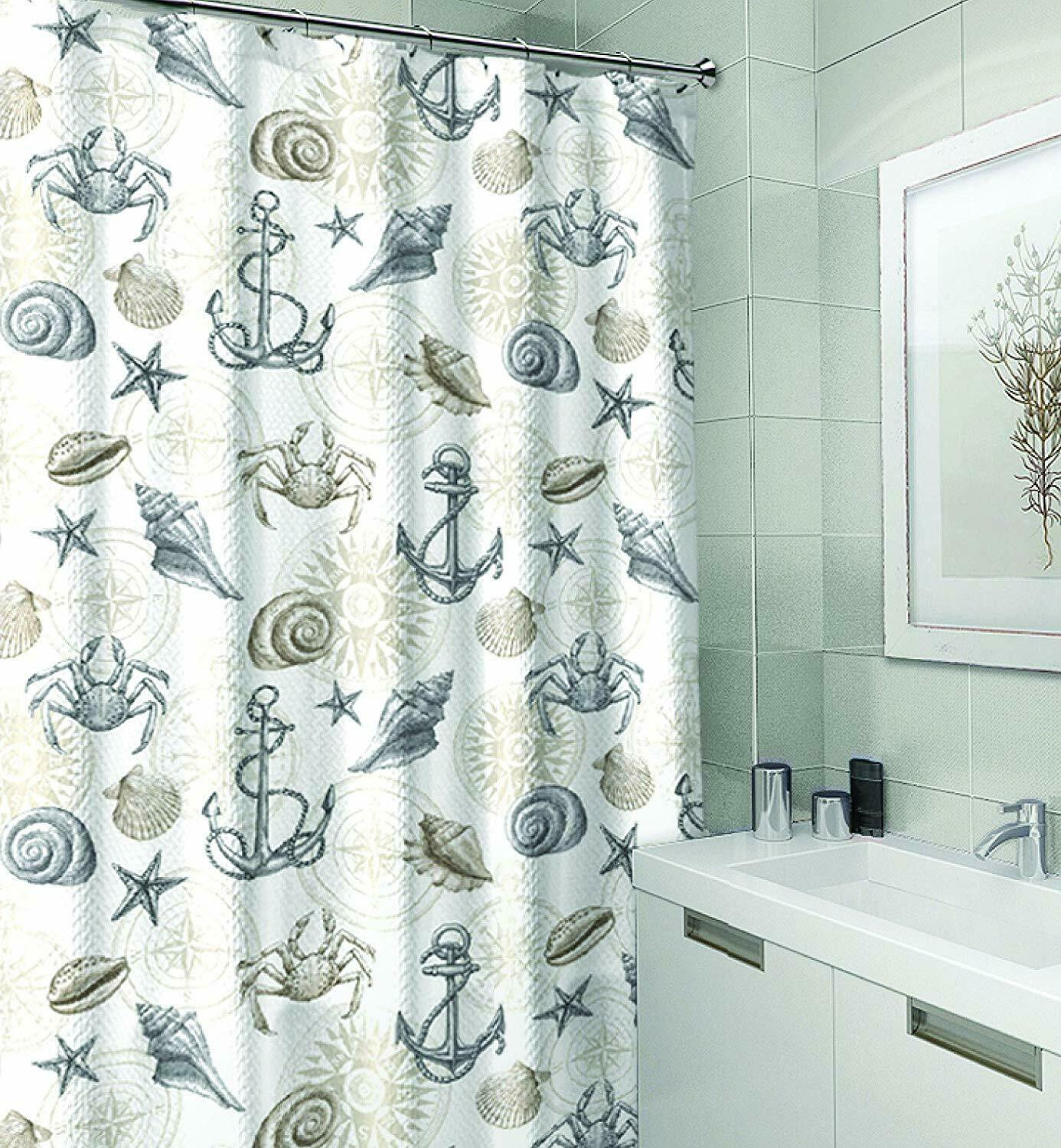 Nautical Ocean Sea Life Canvas Fabric Shower Curtain Brown Beige Grey White Nwop